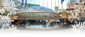 Iconic glass dome and ice rink