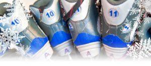 Skates sitting on a shelf
